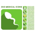 Spermatosoid Icon and Medical Longshadow Icon Set vector image vector image