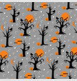 spooky halloween trees and birds vector image vector image