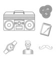 style hipster outline icons in set collection for vector image vector image
