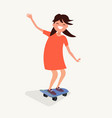 the girl is riding a skateboard vector image vector image