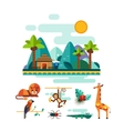 Tropic Animals Insects and Birds on Jungle vector image
