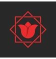 Tulip logo flower red monogram hipster frame vector image