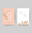 wedding invitation floral cute cards front and vector image