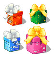 set of gift boxes green blue red and pink color vector image