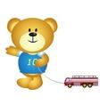 Boy Bear Cartoon Playing Toys vector image