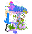 Alice and Blue Caterpillar vector image vector image