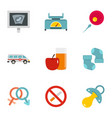 babby clinic icons set flat style vector image