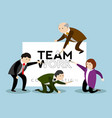 businessmen painting a paper teamwork vector image