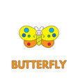 cartoon butterfly flashcard for children vector image