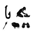 cattle catch hook fishing stone age set vector image vector image