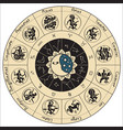 circle of zodiac signs in an antique style vector image