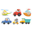 cute animal drivers animal driving car tractor vector image vector image