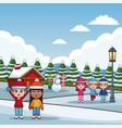 cute kids in winter cartoons vector image