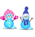 cute snowman and snowgirl smiles isolated vector image
