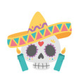 day dead skull with hat and candles vector image vector image