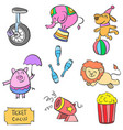 doodle cute animal circus and element colorful vector image vector image
