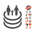 family portal icon with dating bonus vector image vector image