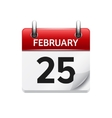 february 25 flat daily calendar icon date vector image vector image