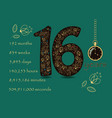 floral card with number sixteen and pocket watch vector image vector image