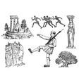 greek culture set national symbols ruins vector image