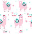 hand drawing print design llama and christmas vector image