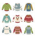 handmade christmas sweaters color vector image vector image