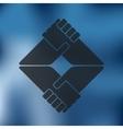 handshake icon on blurred background vector image