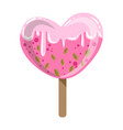 heart shaped glazed ice-cream bar on a stick with vector image vector image