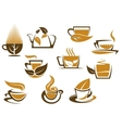 Herbal tea symbols and emblems vector image vector image