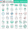 hotel service flat line outline icons vector image