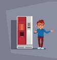 man buy coffee or tea in vending machine over grey vector image vector image