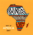 may 25 africa day card wild animal african map