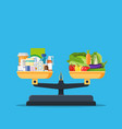 medicine and fresh vegetables on the scale vector image vector image