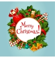 Merry Christmas greeting card or poster design vector image vector image