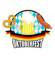 oktoberfest logo beer sausage and pretzel sign vector image