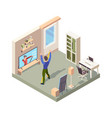 online fitness people standing alone at home room vector image vector image