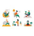 people rest and work at home vector image