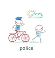 Police riding a bike for a criminal vector image vector image