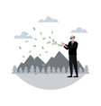 rich pensioner throws money in minimalist style vector image vector image