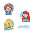 school student girl cartoon vector image