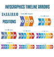 set 9 templates colorful timeline arrows vector image