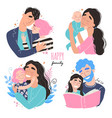 set clip art a happy smiling families isolated vector image vector image