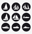 set icons ship pleasure boat speed boat cruise vector image