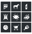 set meat processing plant icons vector image