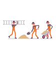 set of male worker in orange overall working with vector image vector image
