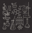set of various devices for chemical experiments on vector image
