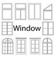 set window silhouettes various cut and vector image