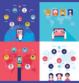 social network technology banner set vector image vector image