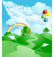 spring landscape with rainbow vector image