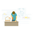 stay at home man diy drilling wood in workshop vector image